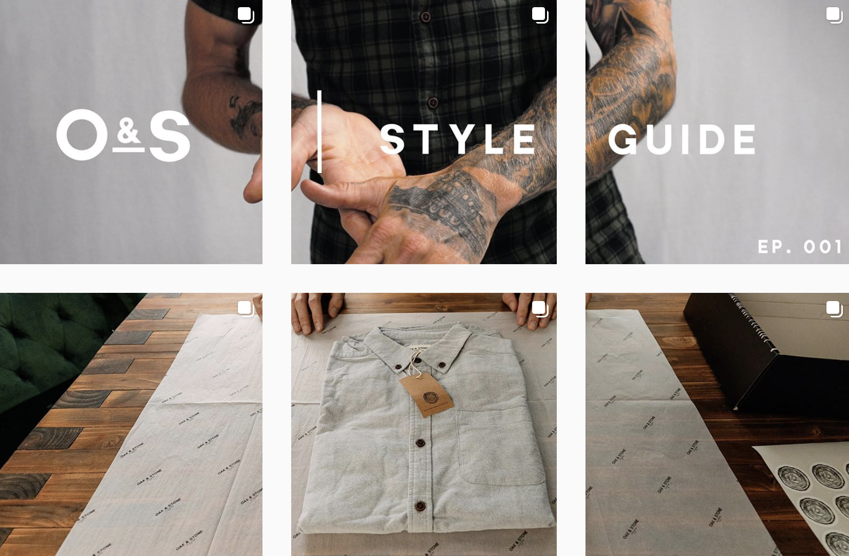 Oak & Stone Clothing Instagram feed