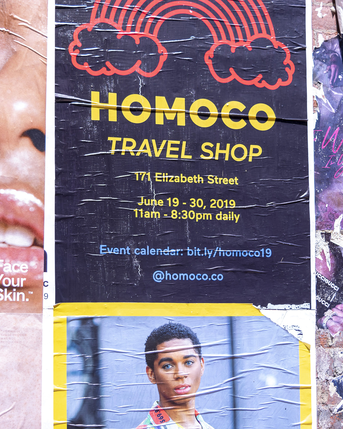 Poster advertising HOMOCO pop-up store