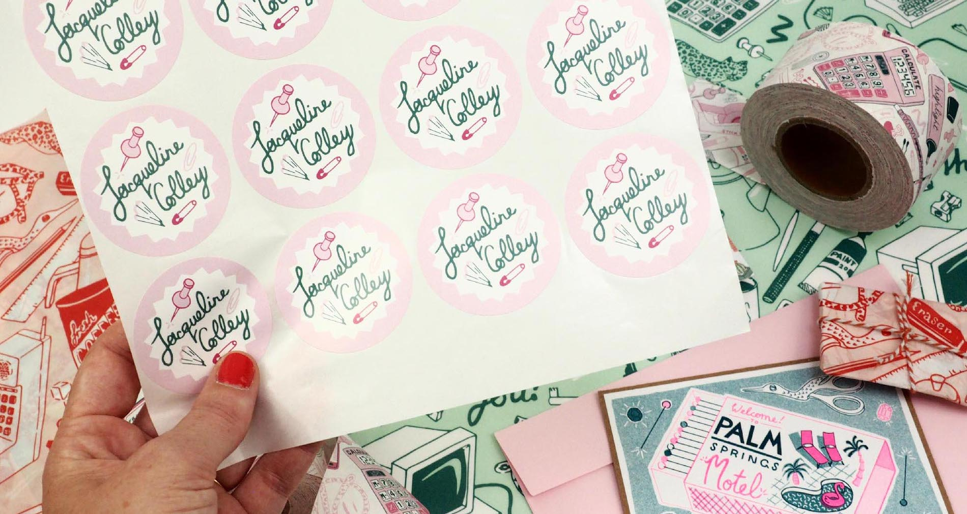 Custom stickers designed by Jacqueline Colley