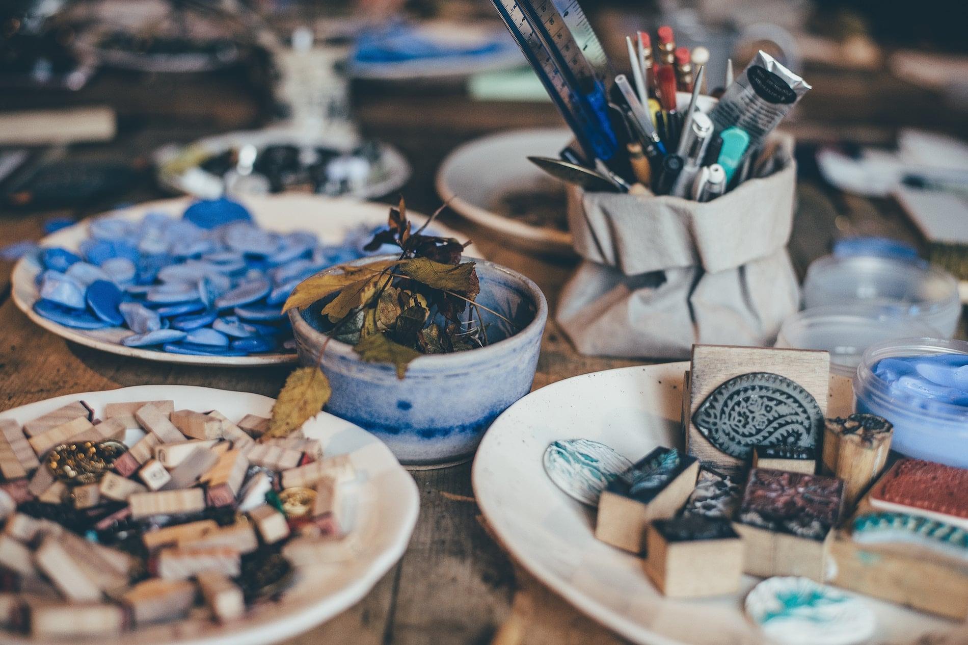 Close-up of art materials