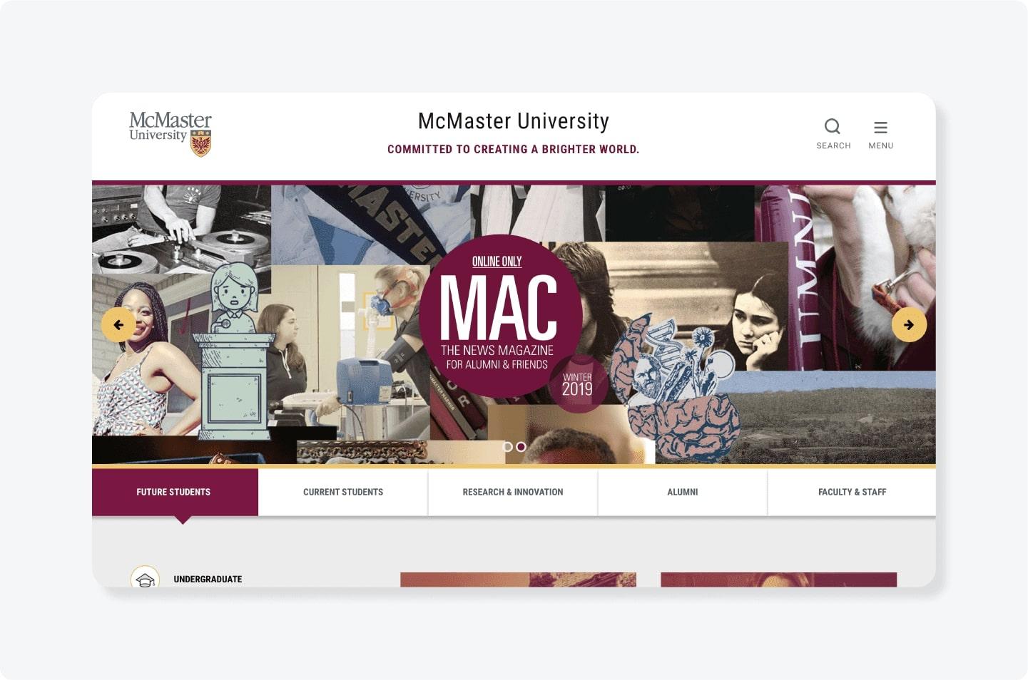 McMaster University landing page