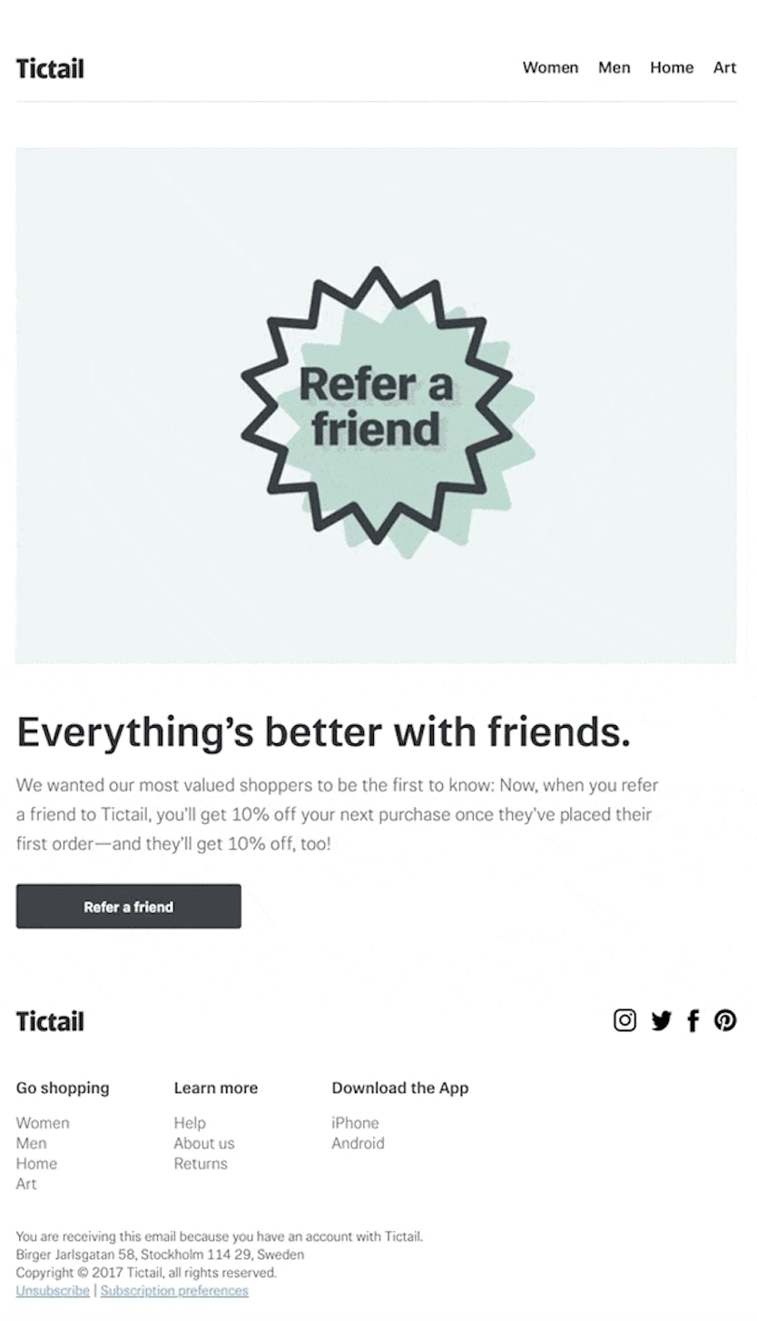 Tictail referral remail